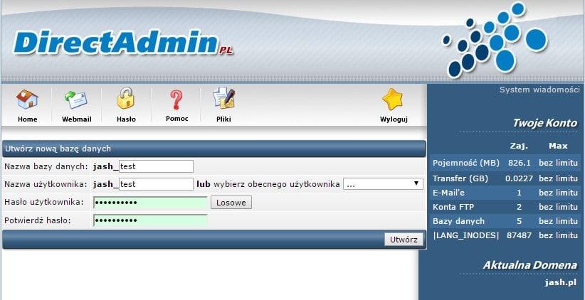 Uzupełnianie nazwy bazy danych, nazwy użytkownika bazy oraz deklarowanie hasła do bazy