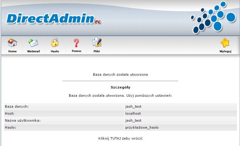 Strona podsumowująca informacje o założonej własnie bazie danych
