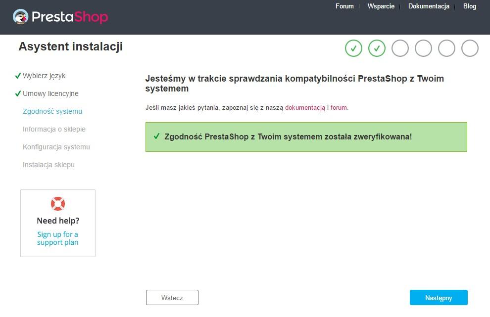 Trzecia strona procesu instalacji sklepu PrestaShop - weryfikacja kompatybilności PrestaShop z serwerem