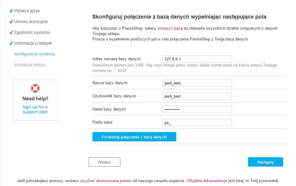 Piąta strona procesu instalacji sklepu PrestaShop - połączenie z bazą danych